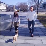 愛犬チョコと散歩
